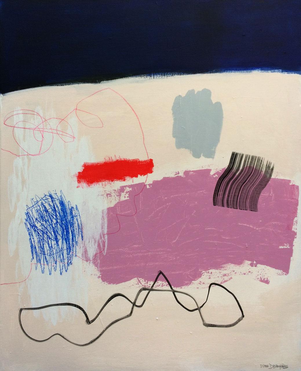 FIGURES ORDONNÉES-60,96×76,2cm (24x30po) Acrylique et technique mixte sur toile