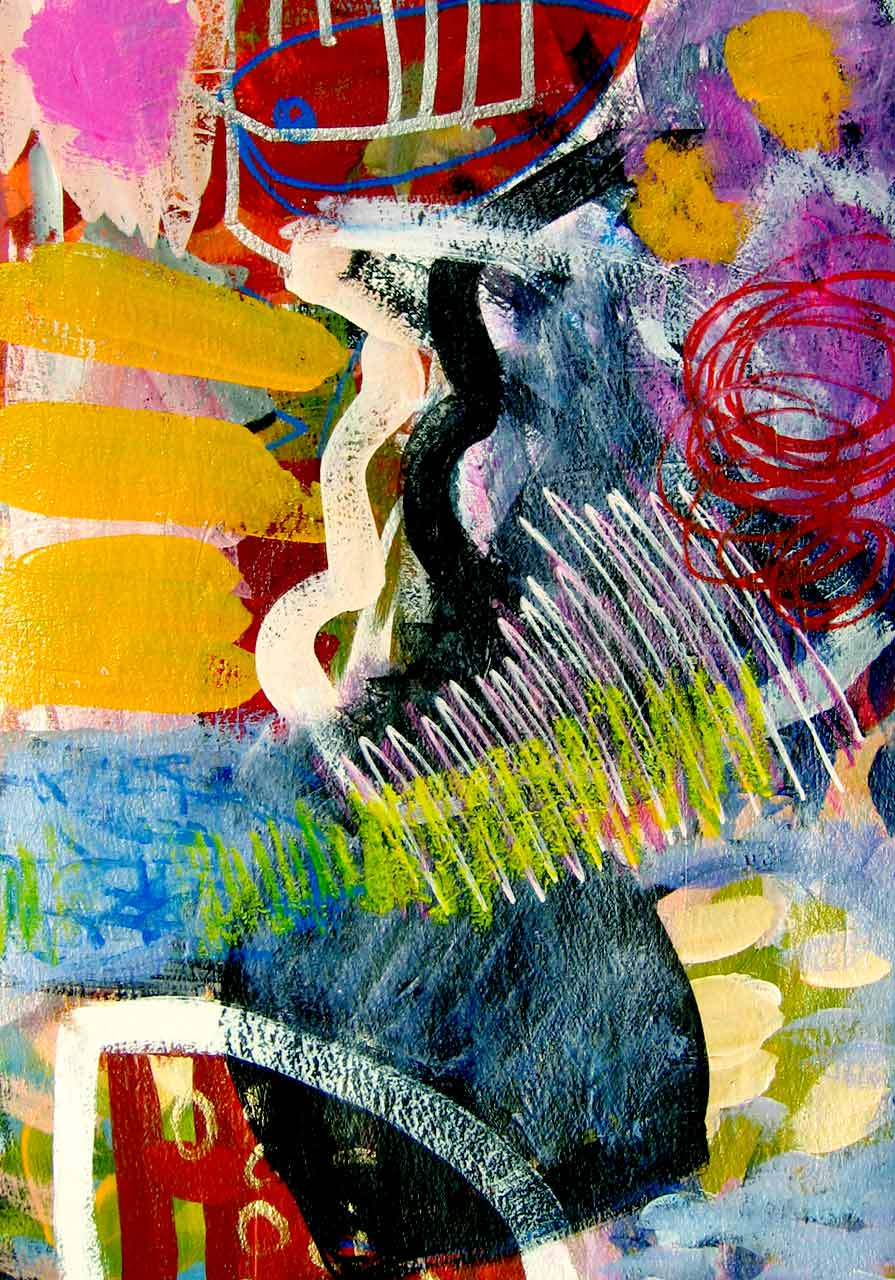 FRÉQUENCE 1 35,6 x 25,4cm (14x10po) Acrylique et technique mixte sur papier d`arche – no 27