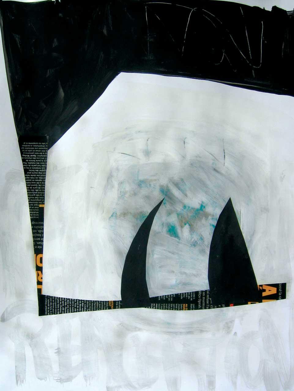 SANS TITRE 63,5 x 48,3 cm (25x19po) Acrylique et technique mixte papier (no B-38)